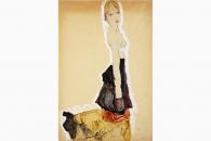 40317 Schiele Knieendes Maedchen mit Spanischem Rock-165