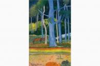 41056 Gauguin Landschaft mit blauen Baumstaemmen-168