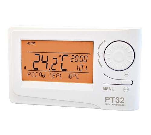 PT 32 - Izbový zásuvkový termostat s LCD displejom